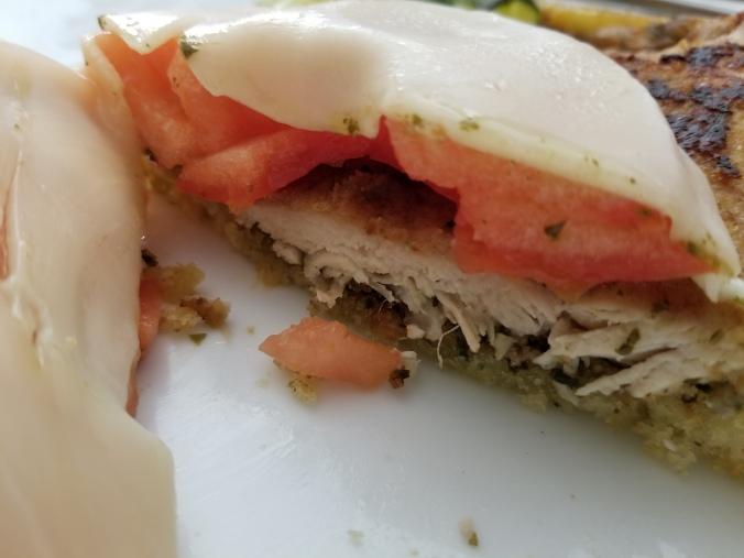 Open-faced Italian Chicken Cutlet Sandwich