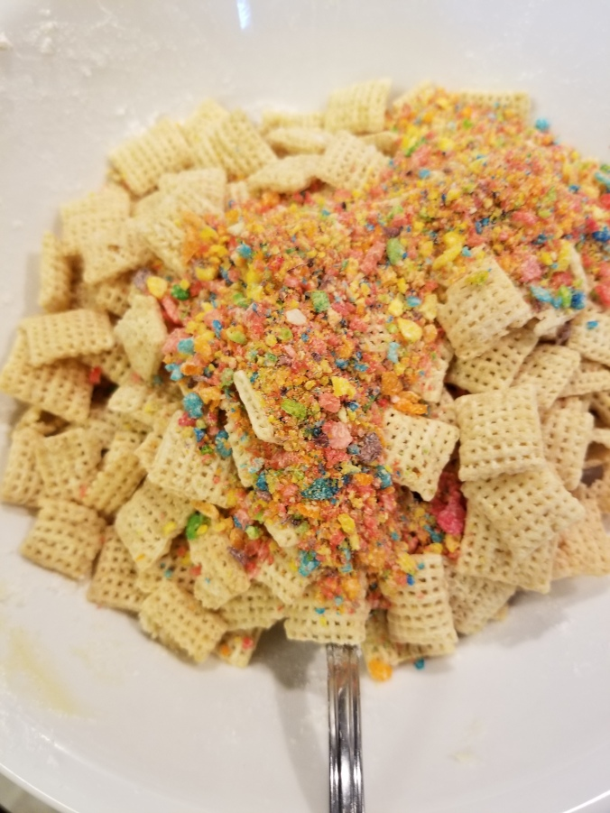 fruity pebbles and rice chex