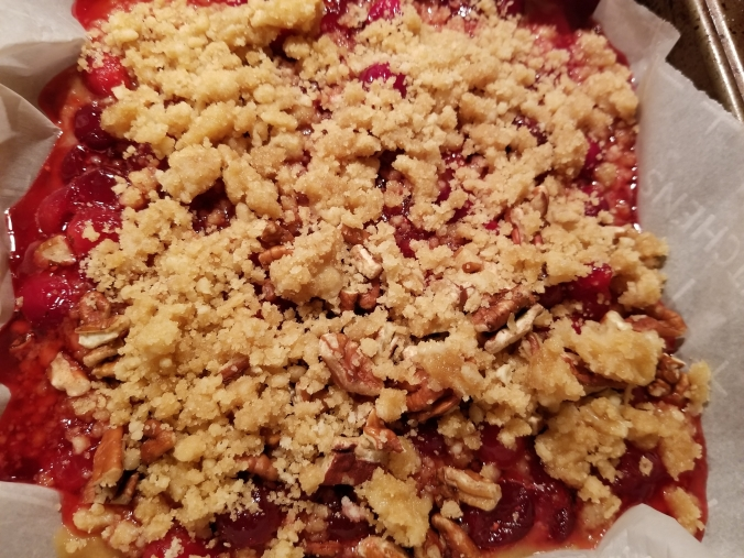 cranberry streusel bars ready for baking